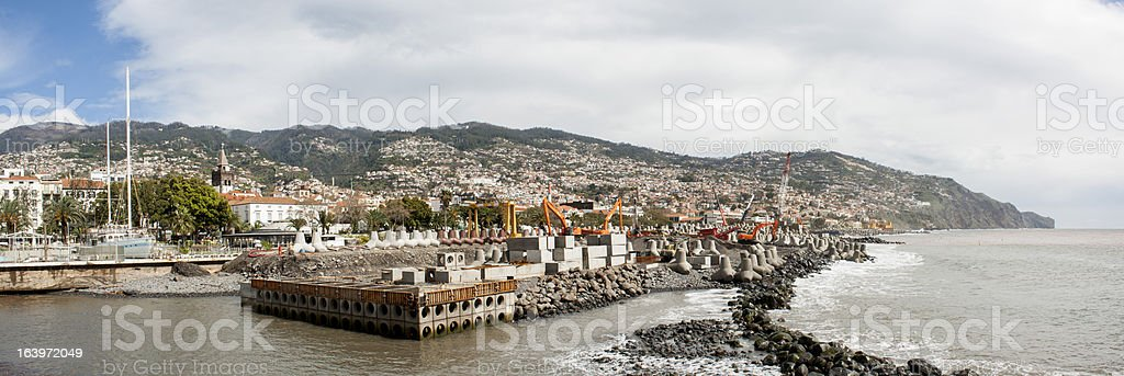 Urban works on Funchal coast royalty-free stock photo