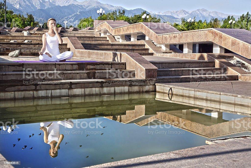 Urban Yoga nadi suddhi pranayama stock photo