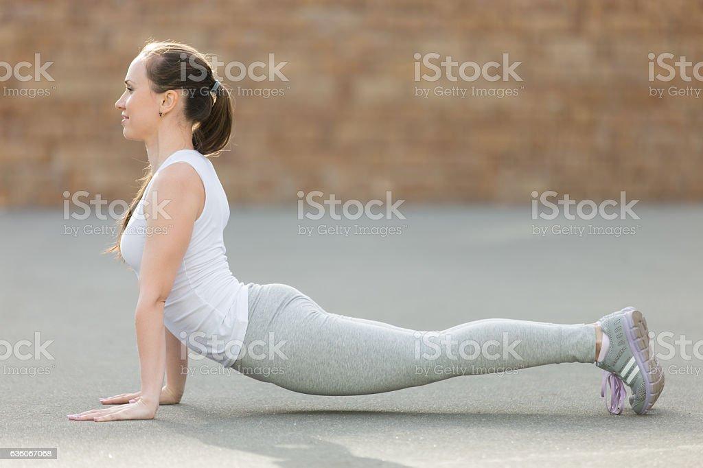 Urdhva mukha shvanasana pose stock photo