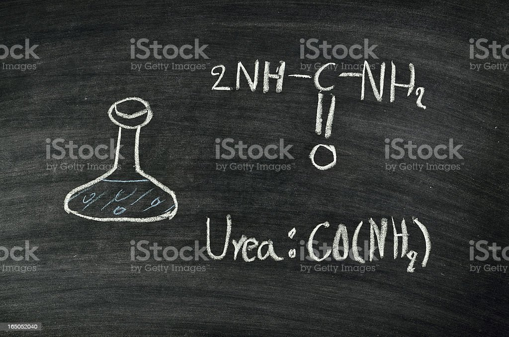 urea acid on blackboard royalty-free stock photo