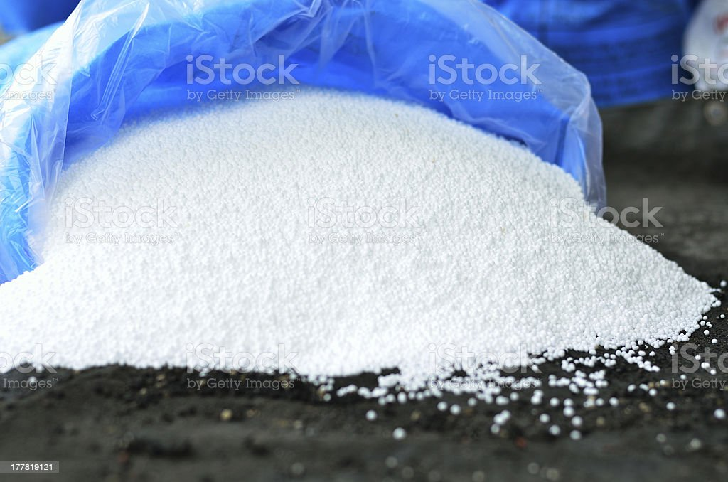 Urea, Nitrogen chemical plant fertilizer bag stock photo