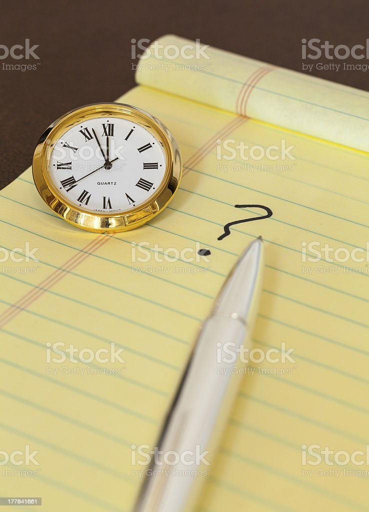 Urgency in making decision with clock stock photo