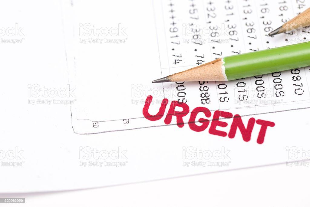 urgent document, bank statement stock photo