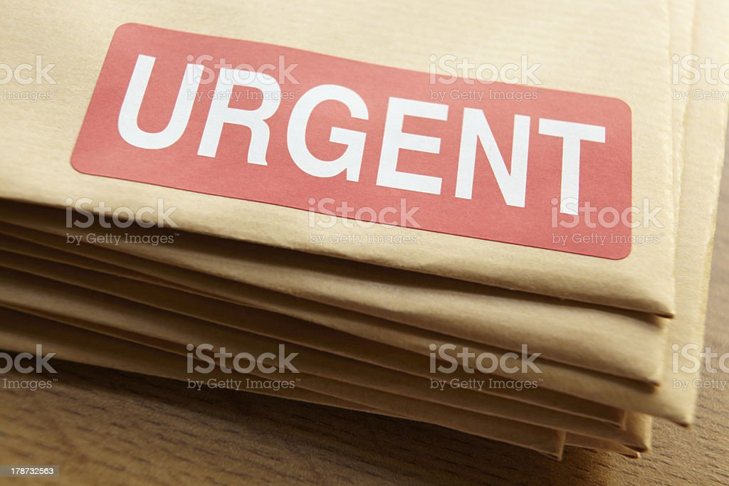 Urgent documents for despatch stock photo