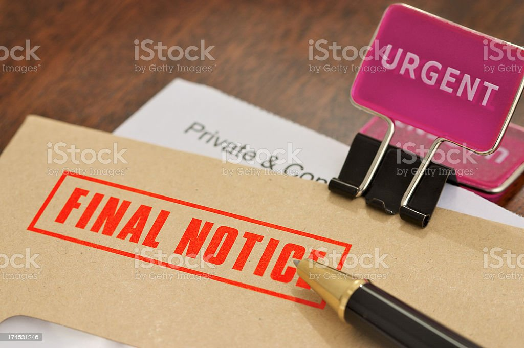 Urgent Final Notice royalty-free stock photo