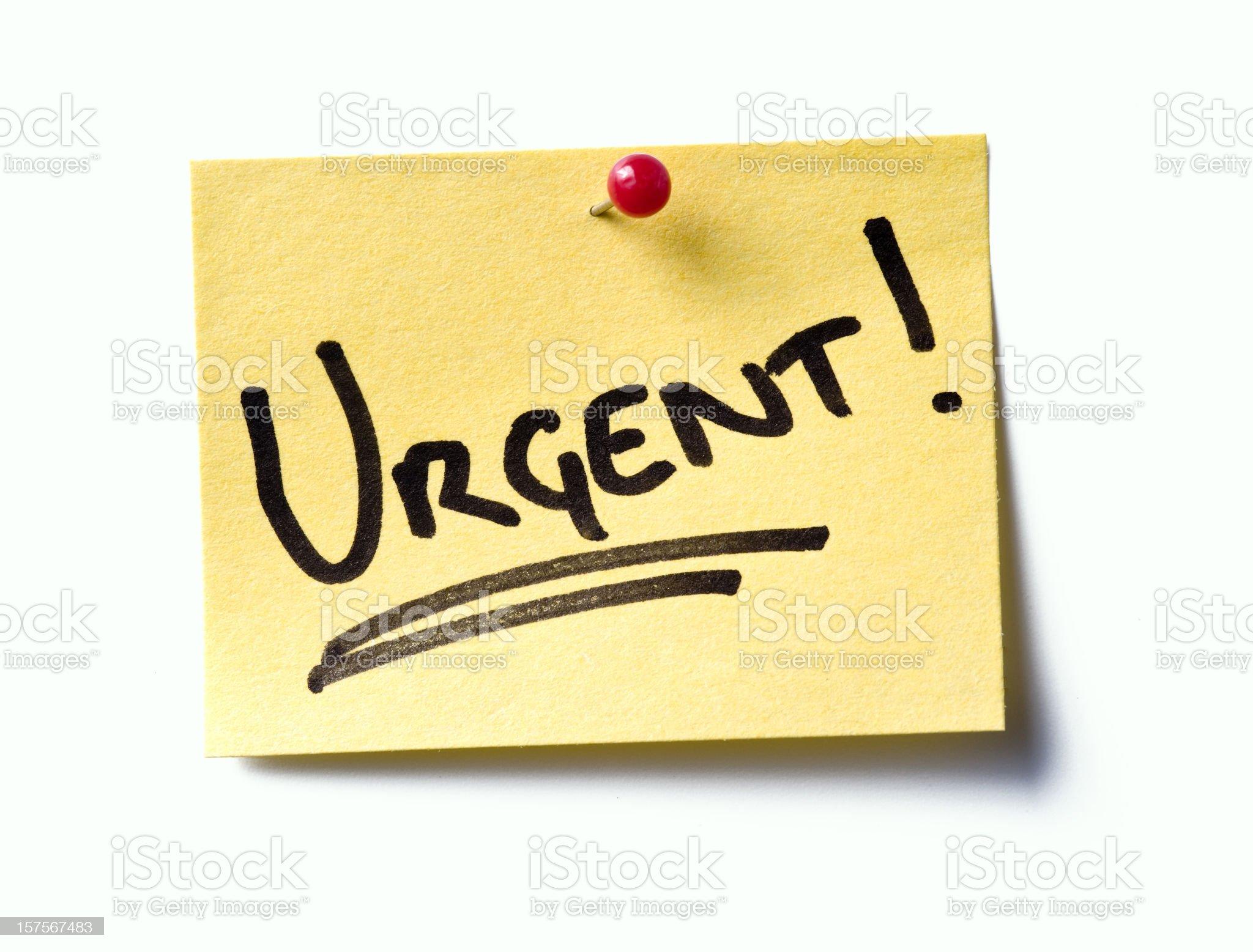 Urgent! post-it. royalty-free stock photo
