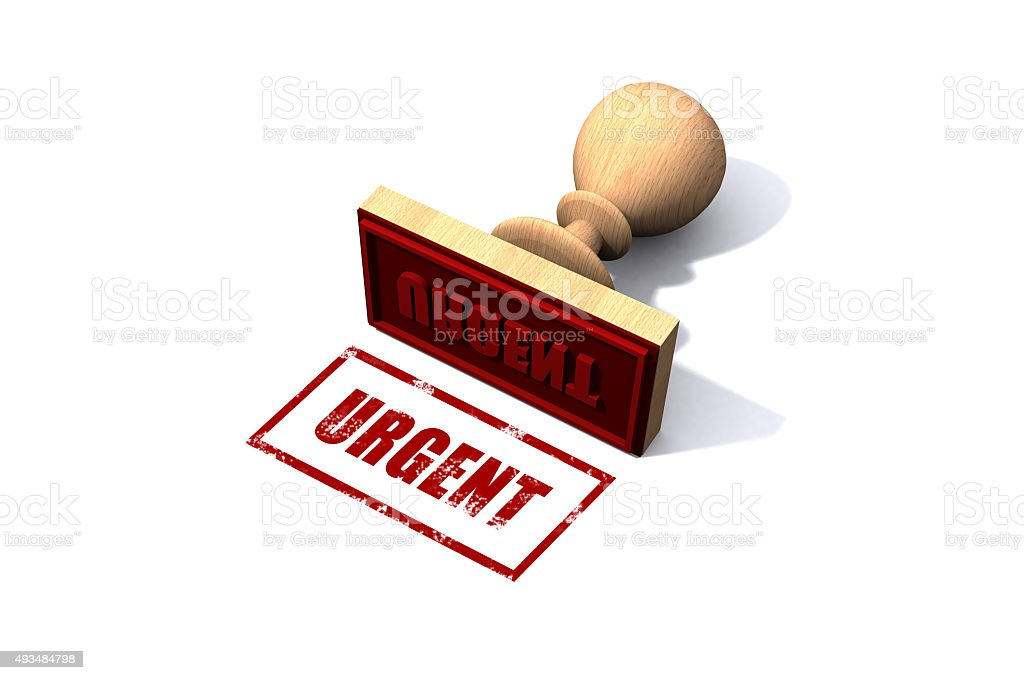 Urgent rubber stamp stock photo