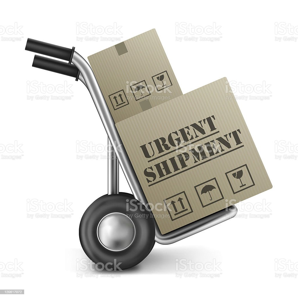 urgent shipping cardboard box hand truck royalty-free stock photo