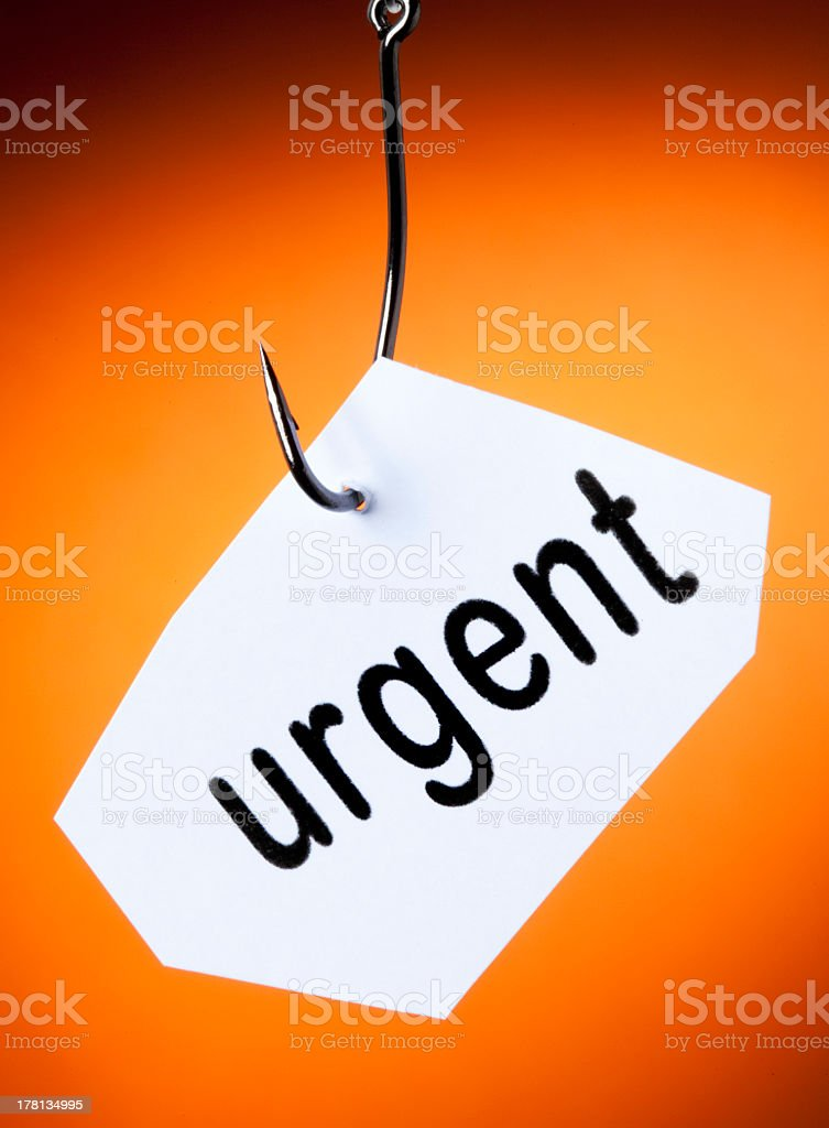 urgent word on hook royalty-free stock photo