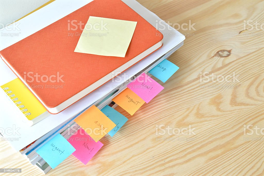 Urgent work with stack of document at office stock photo