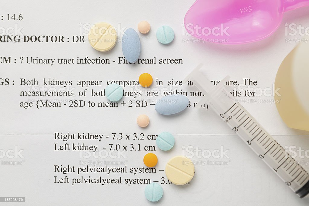 Urinary tract infection ultra scan result stock photo