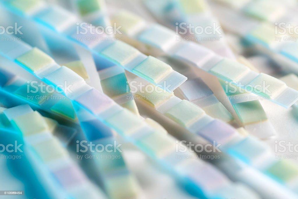 Urine analysis test strips close up stock photo