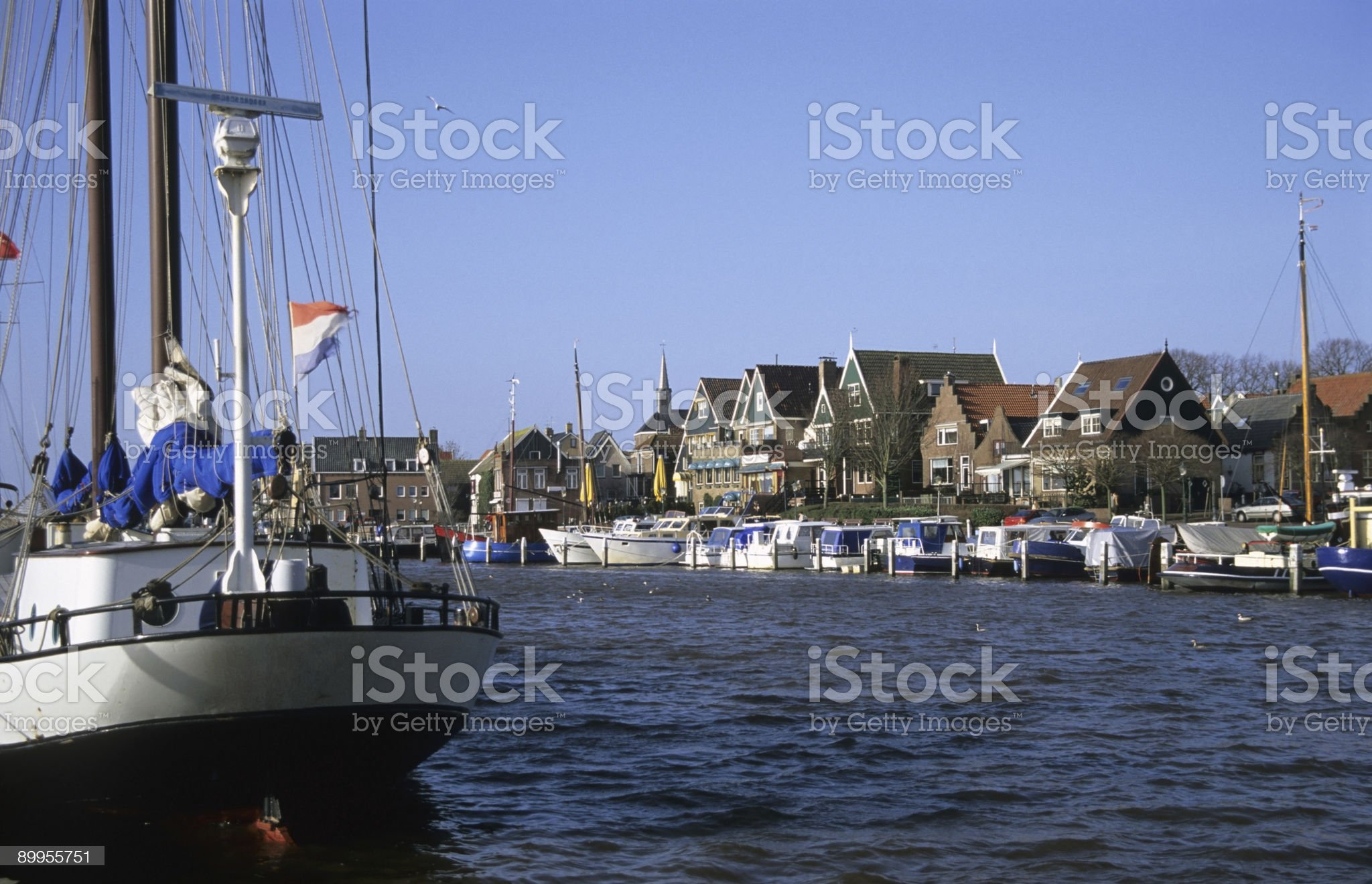 Urk Harbor with boats royalty-free stock photo