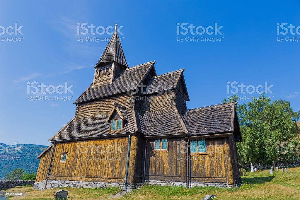 Urnes Stave Church, Lustre Town, Song Og Fjordane, Norway stock photo