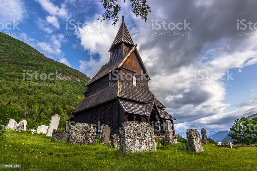 Urnes Stave Church, Norway stock photo