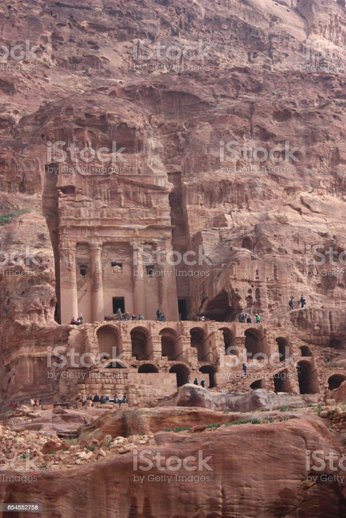 Urns grave in Petra in Jordan, Middle East stock photo