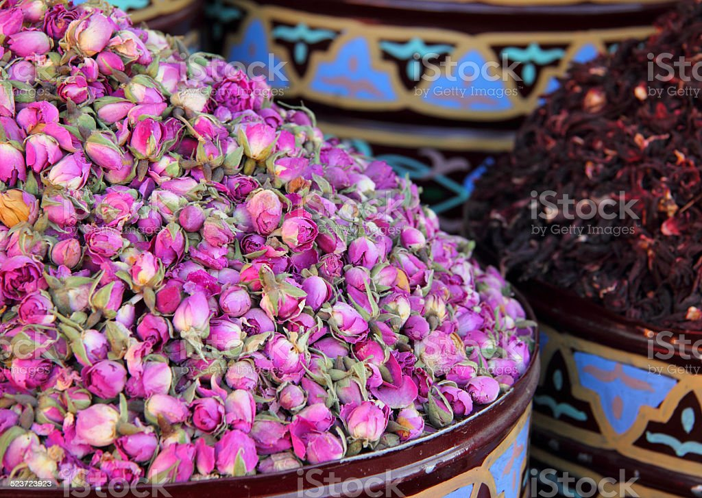 Urns of dried roses. Marrakesh, Morocco. stock photo