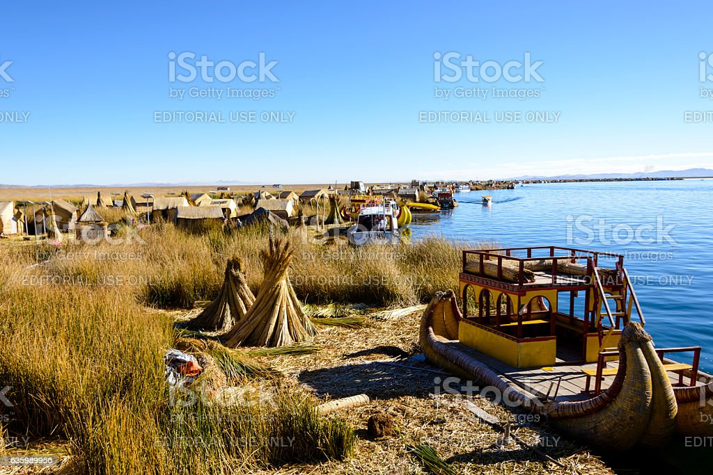 Uros Floating Islands on Lake Titicaca, Peru stock photo