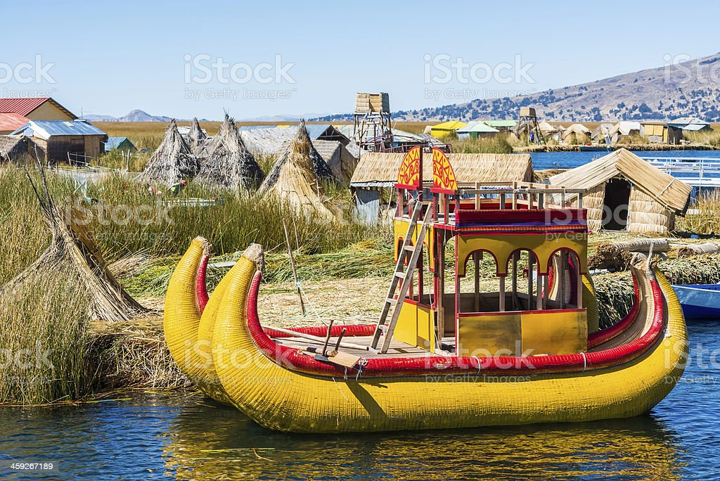 Uros floating Islands peruvian Andes Puno Peru stock photo