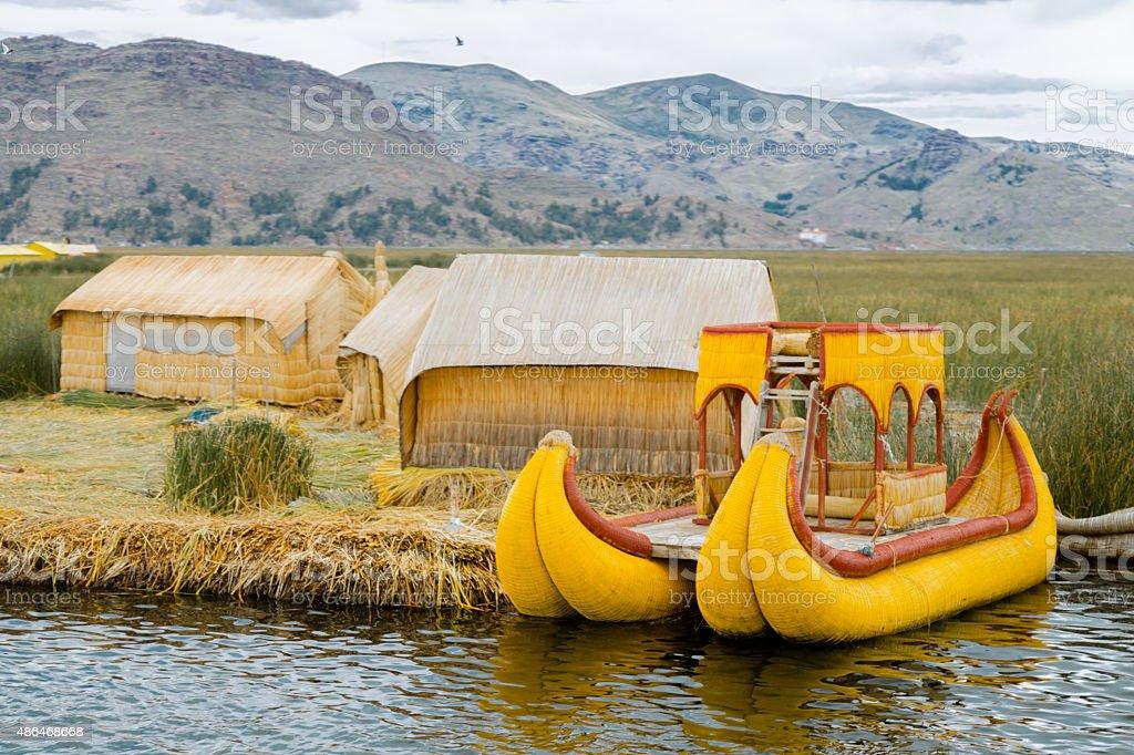 Uros Island on lake Titicaca, Peru stock photo
