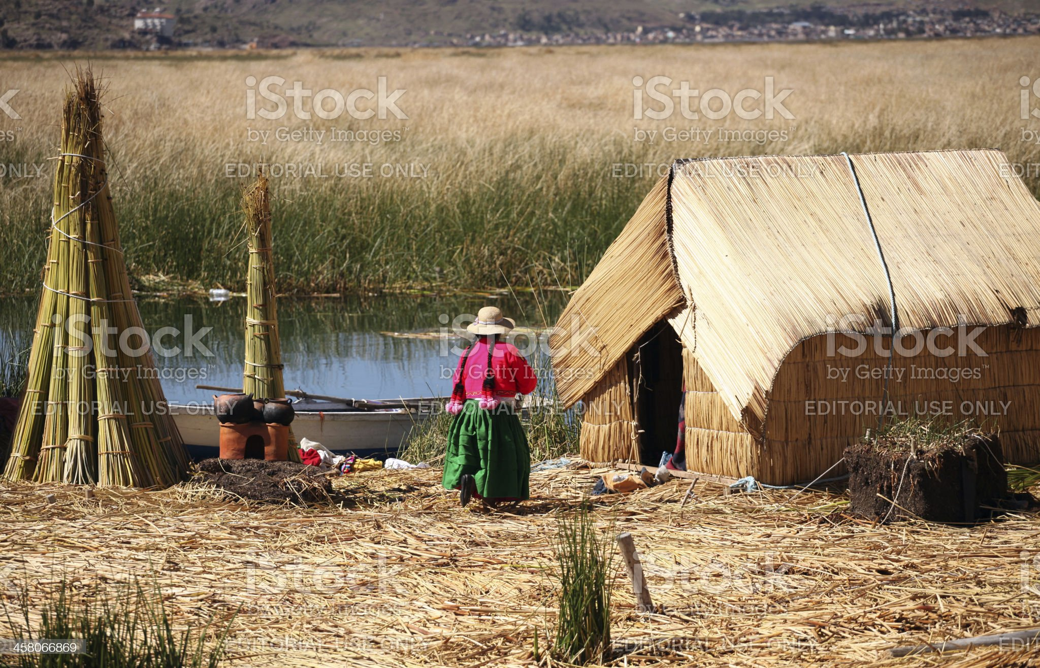 Uros Islands and Lake Titicaca royalty-free stock photo