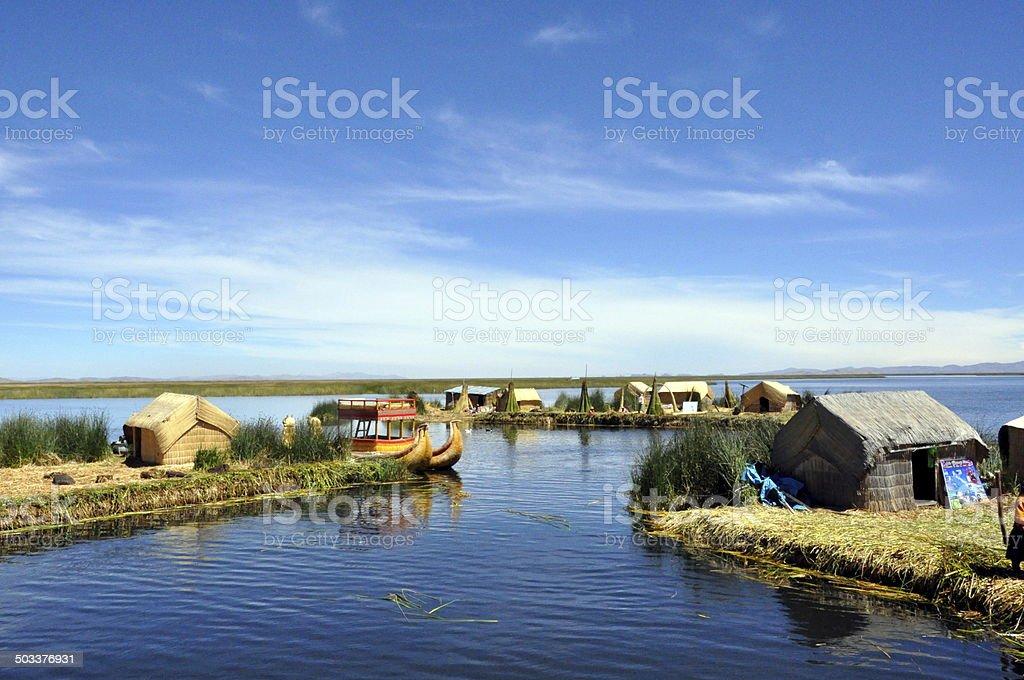 Uros Islands on Lake Titicaca stock photo