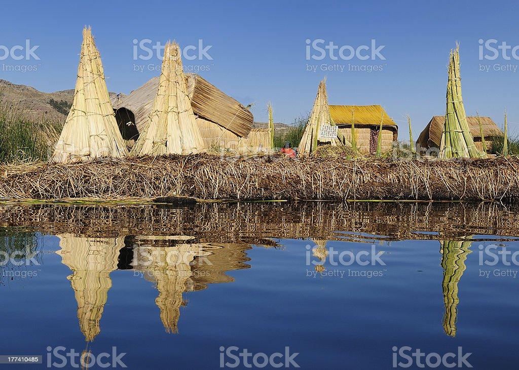 Uros islands on the Titicaca lake stock photo