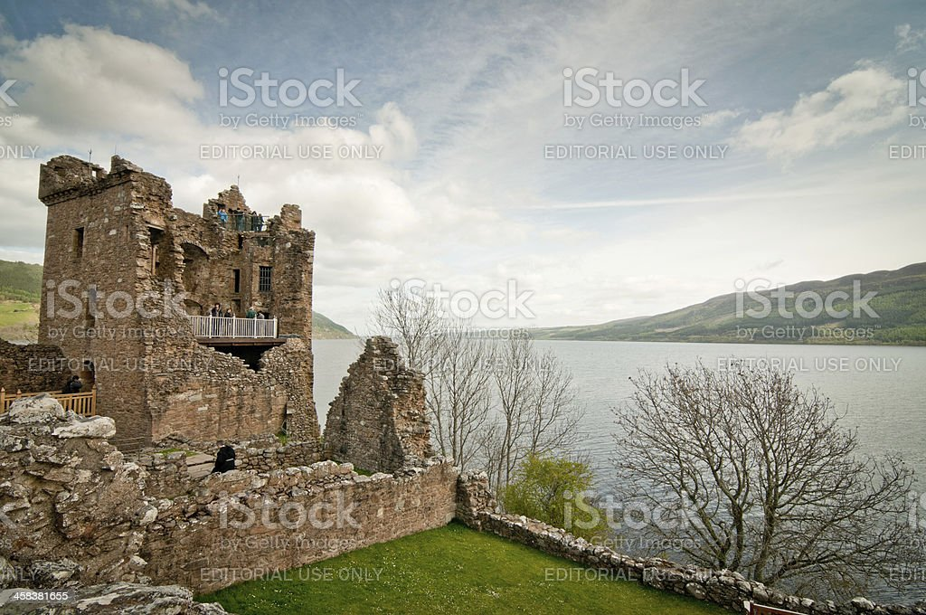 Urquhart Castle and Loch Ness stock photo