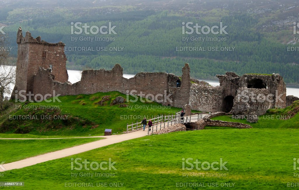 Urquhart castle with Loch ness in the background stock photo