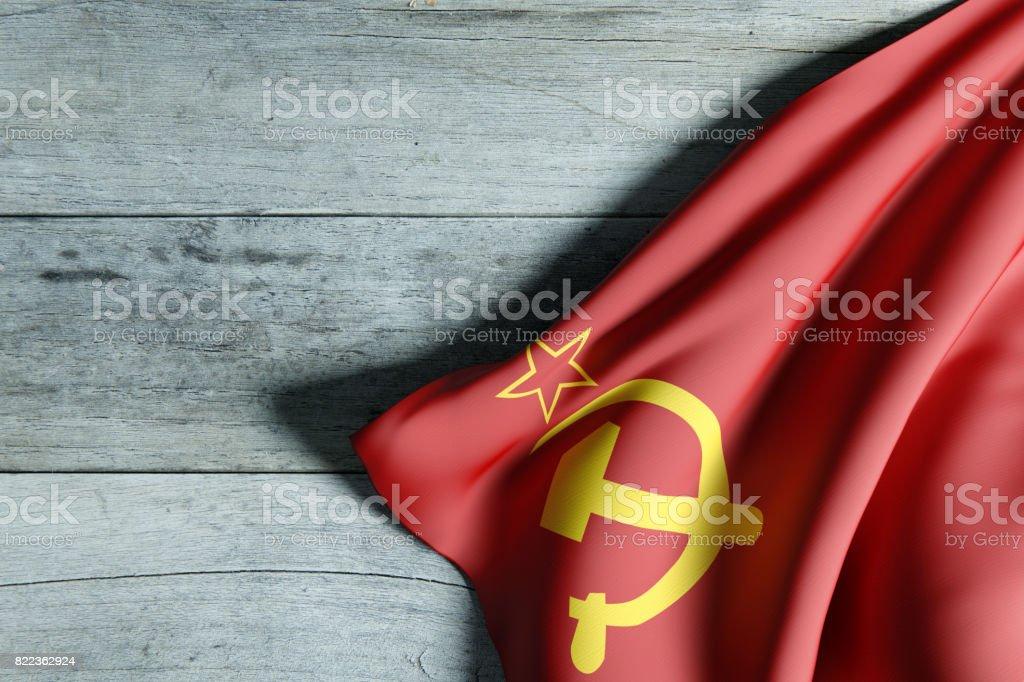 urss flag on wood stock photo