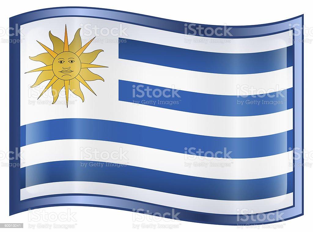 Uruguaian Flag icon, isolated on white background royalty-free stock photo