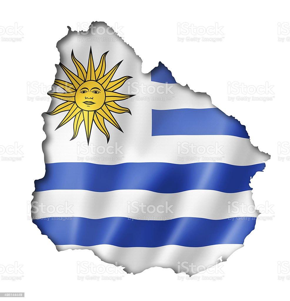 Uruguaian flag map stock photo
