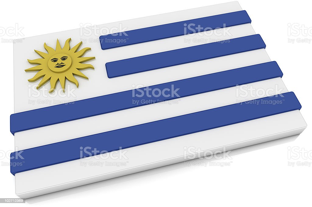 3D Uruguay Flag Button royalty-free stock photo