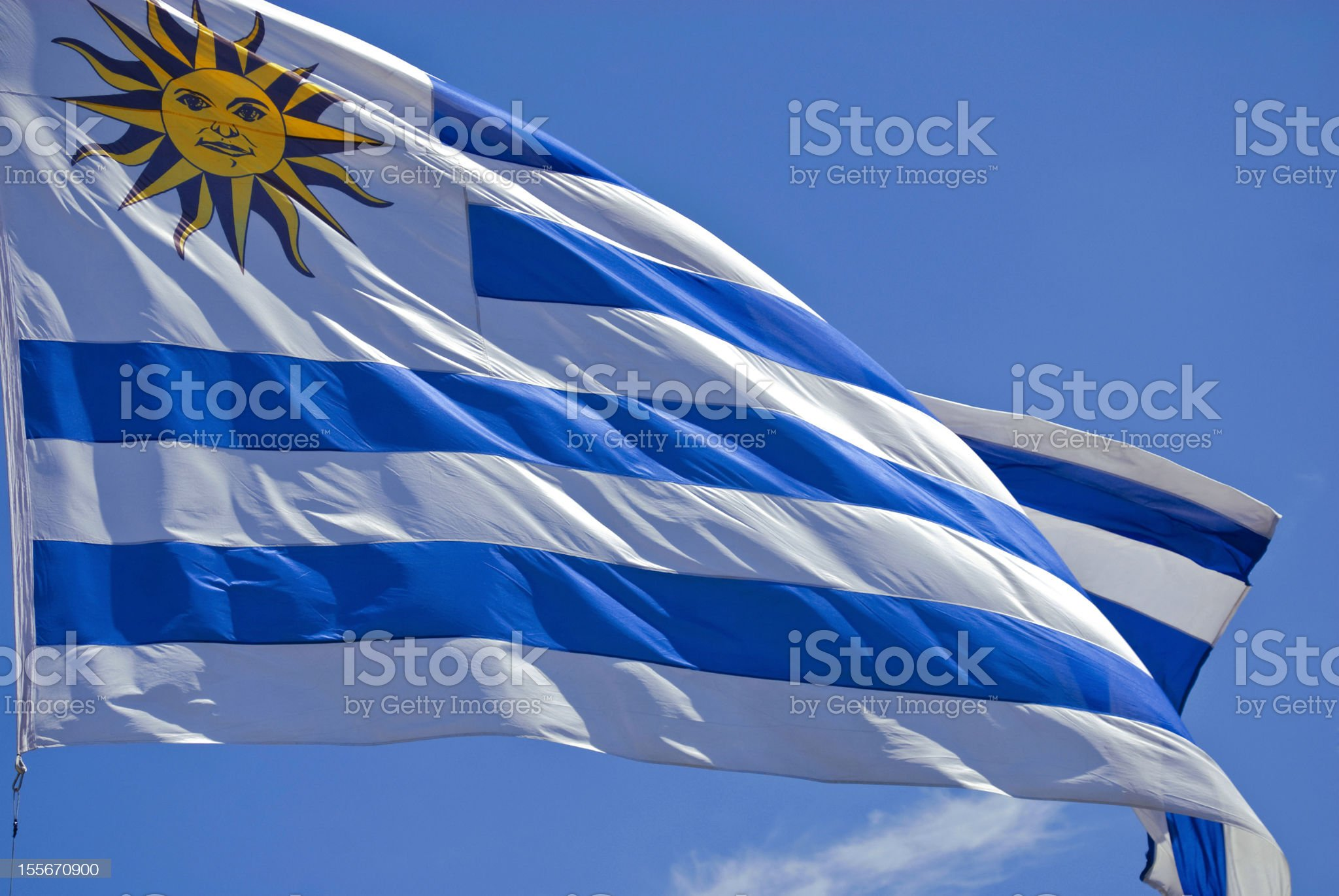 Uruguay flag close up royalty-free stock photo