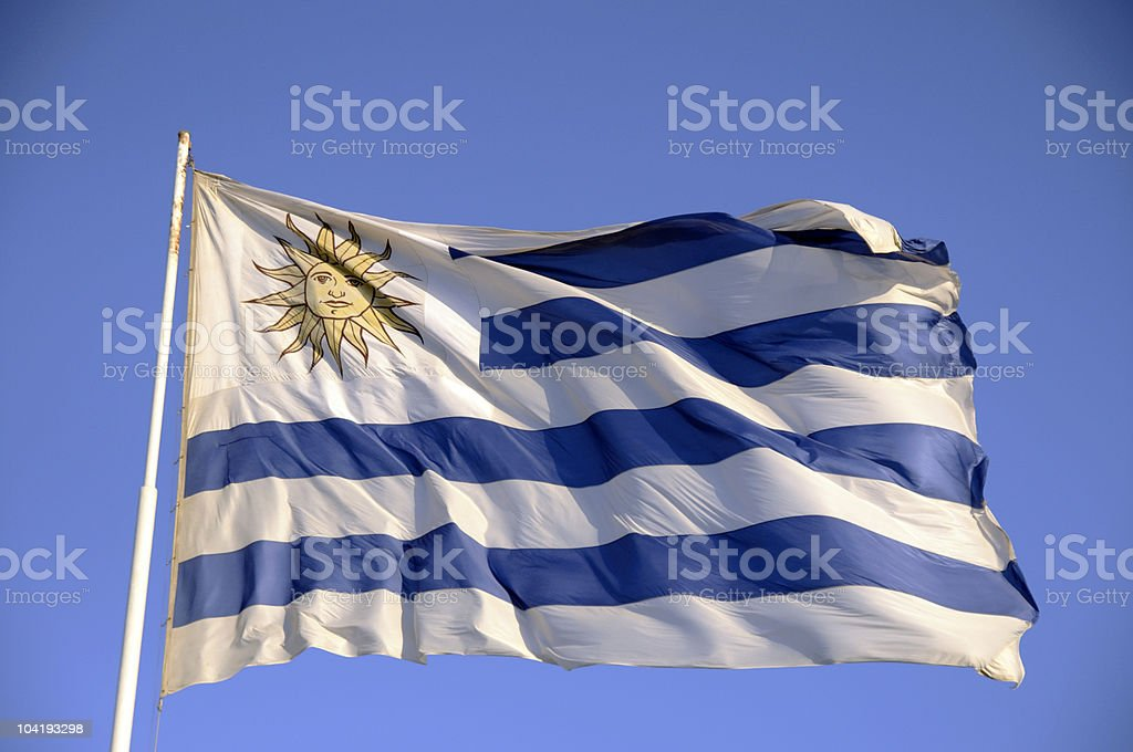Uruguay Flag Flapping in the Wind stock photo