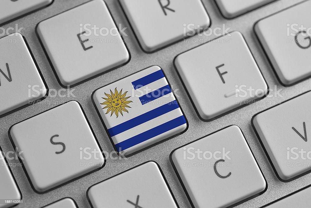 Uruguay flag on a laptop stock photo