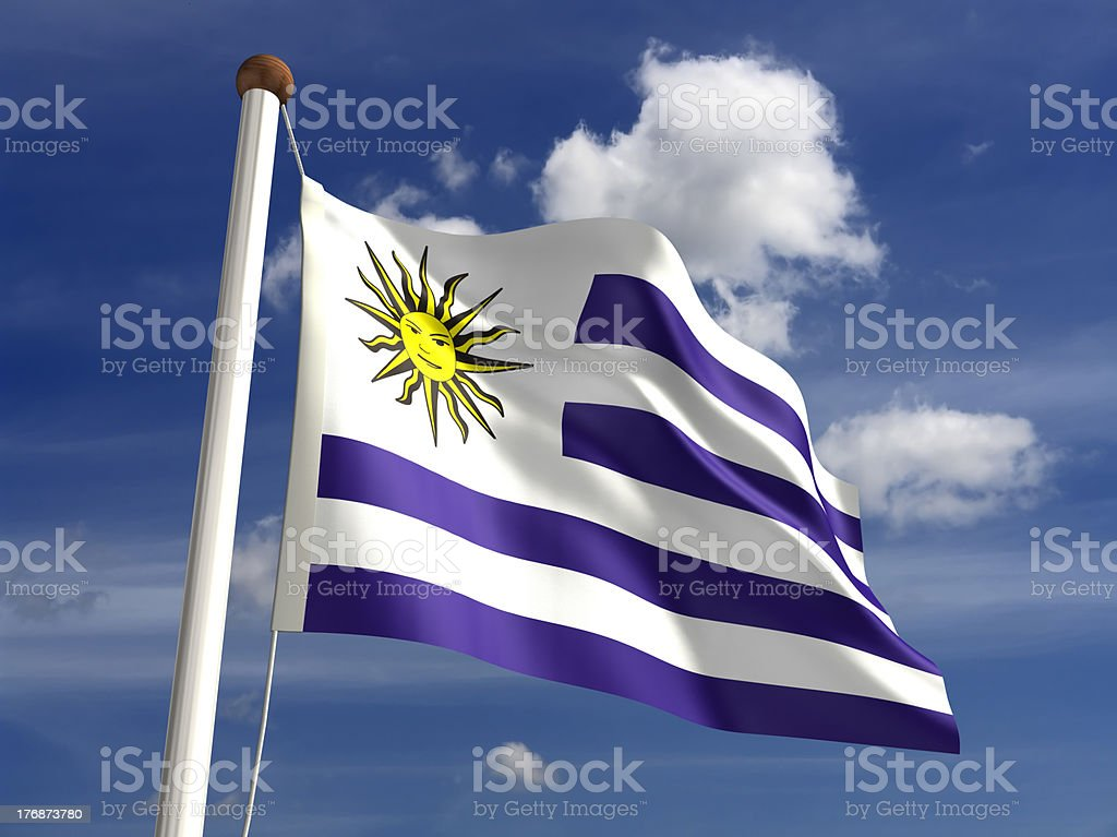 Uruguay flag (with clipping path) stock photo