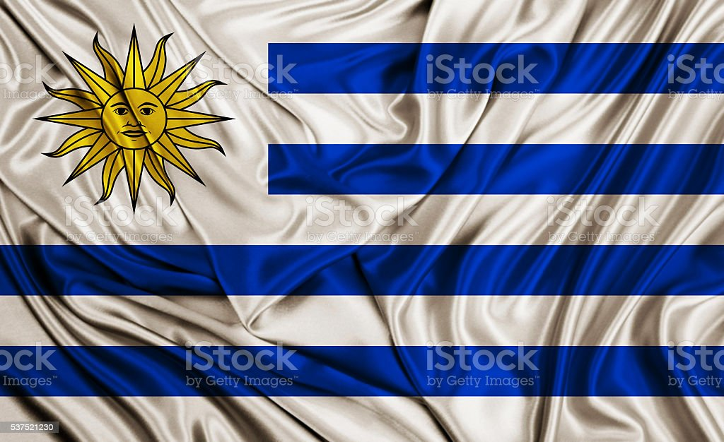 Uruguay flag - silk texture stock photo