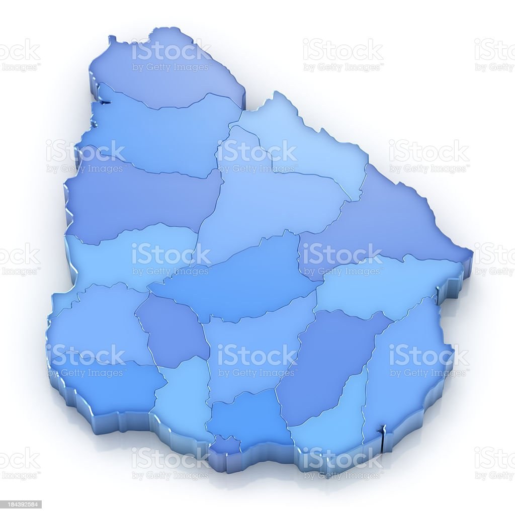 Uruguay map with departments stock photo
