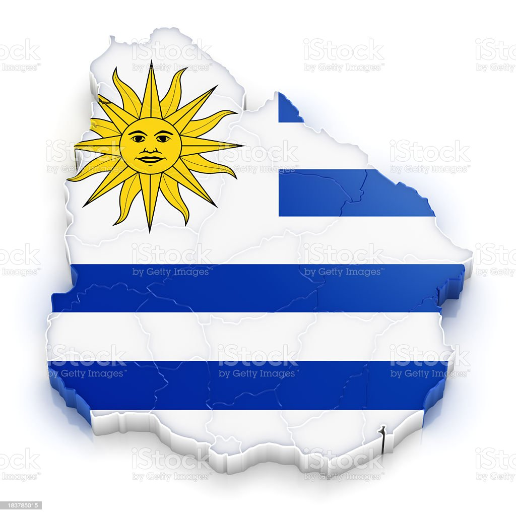 Uruguay map with flag stock photo