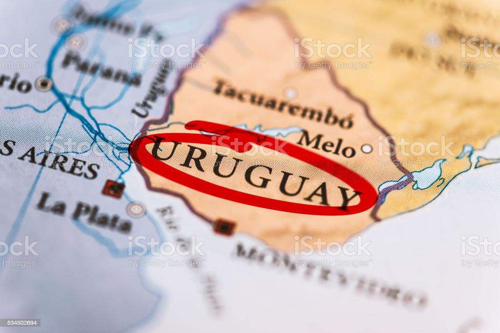 Uruguay Marked on Map stock photo
