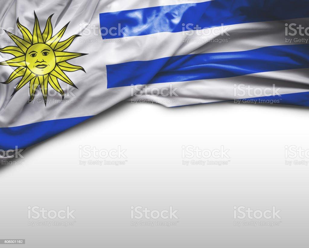 Uruguay waving flag stock photo