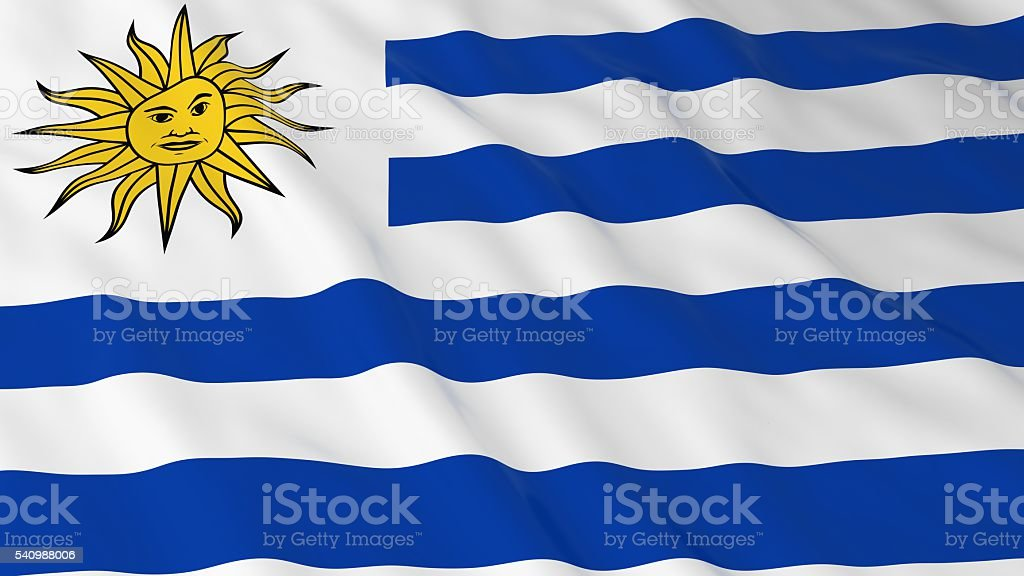 Uruguayan Flag HD Background - Flag of Uruguay 3D Illustration stock photo