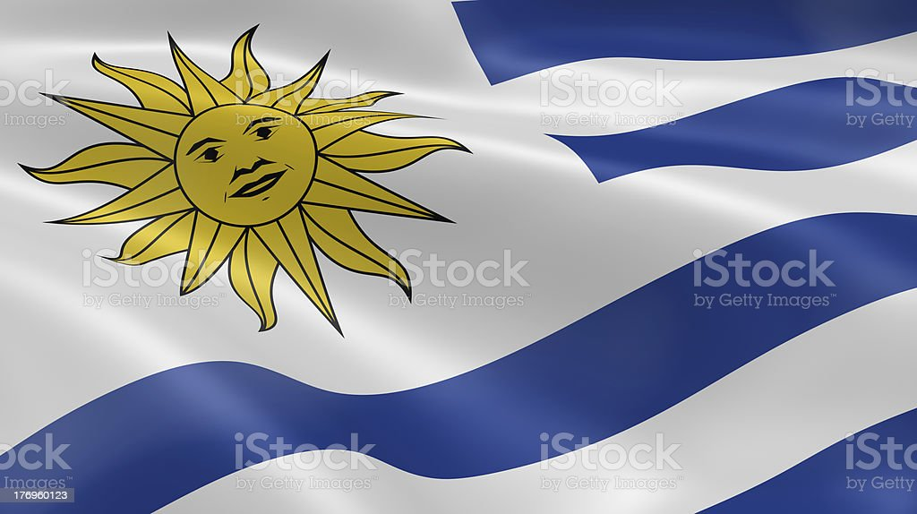 Uruguayan flag in the wind royalty-free stock photo