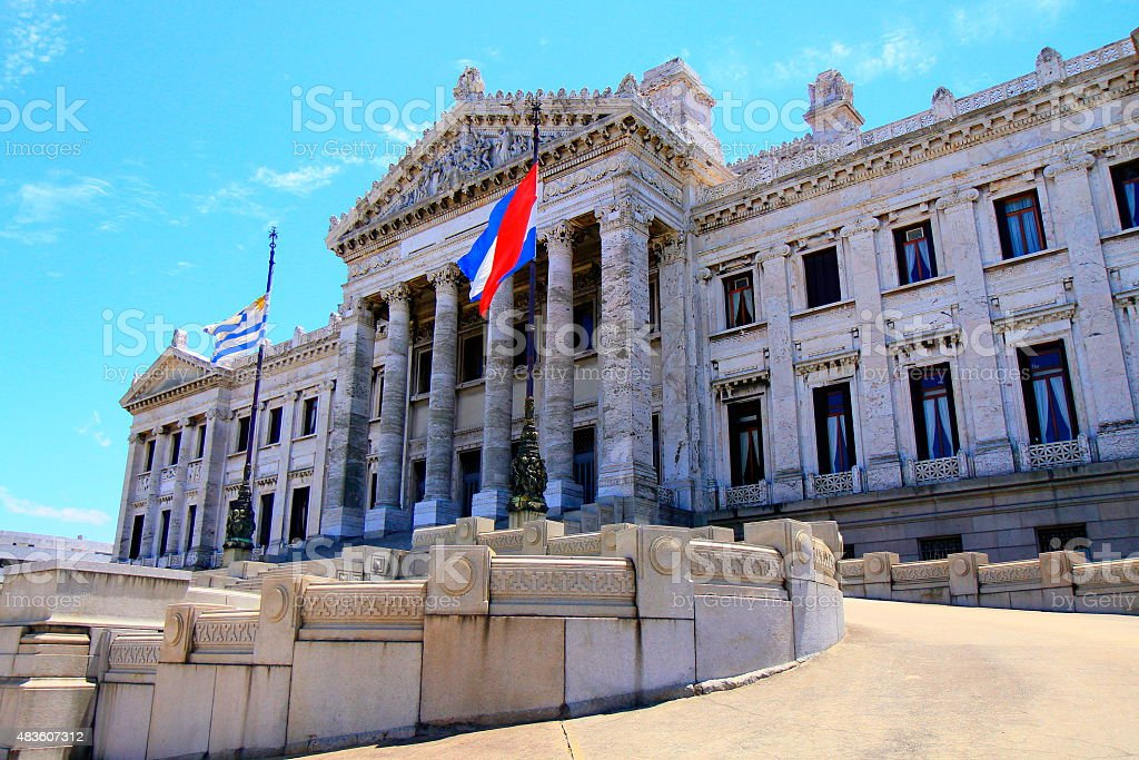 Uruguayan Legislative Palace Classic Parliament and flags, Montevideo, Uruguay stock photo