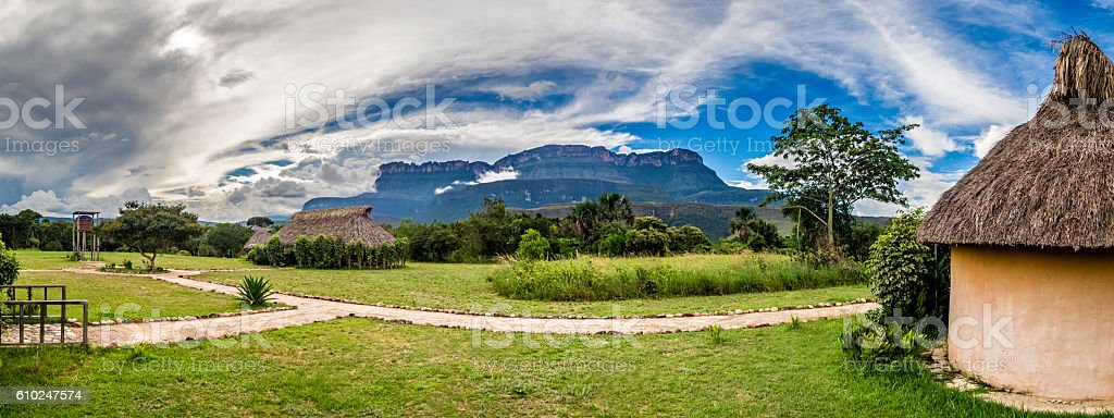 Uruyen indigeous camp at the Auyantepui, La Gran Sabana, Venezuela stock photo