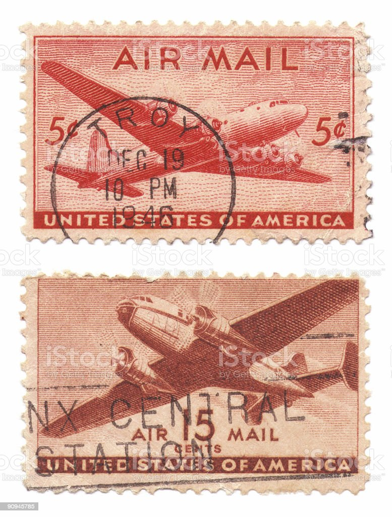 Us Air Mail Stamps royalty-free stock photo