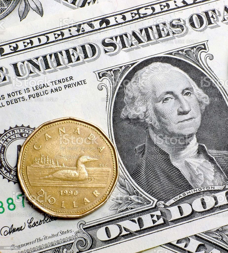 us and Canadian Dollar stock photo