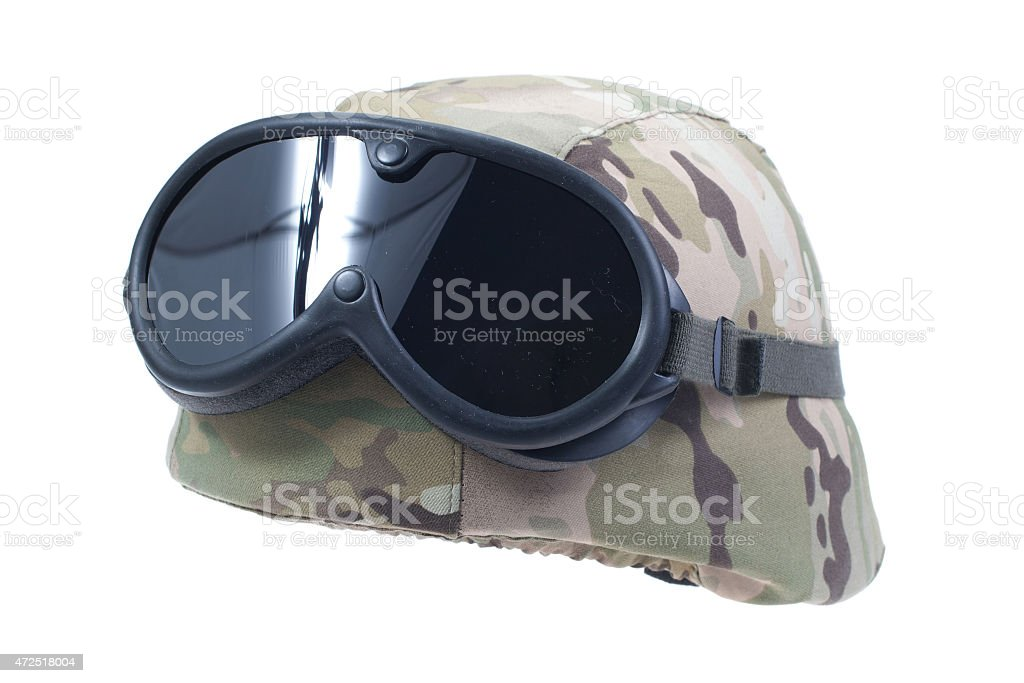 us army kevlar helmet with a multicam camouflage cover stock photo