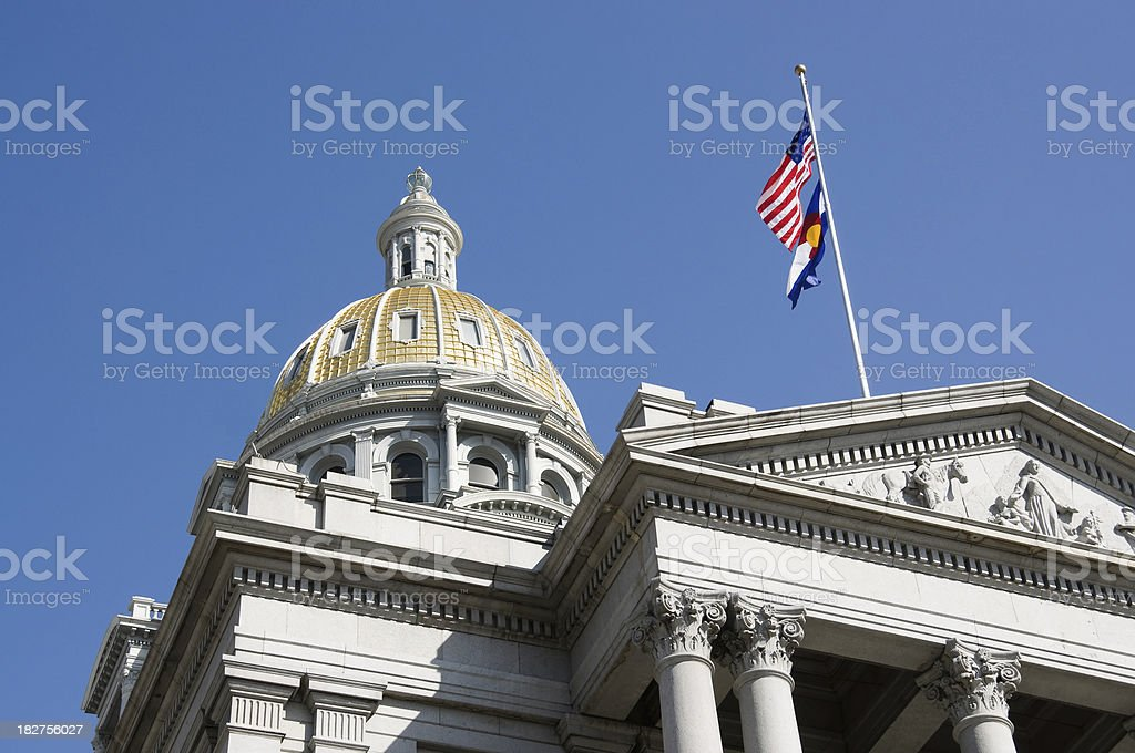 us capitol and flag in colorado stock photo